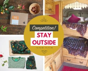 A collage of images that contain t-shirts, scarves and the text Competition! Stay outside