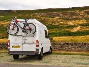 rear view of campervan with bike rack